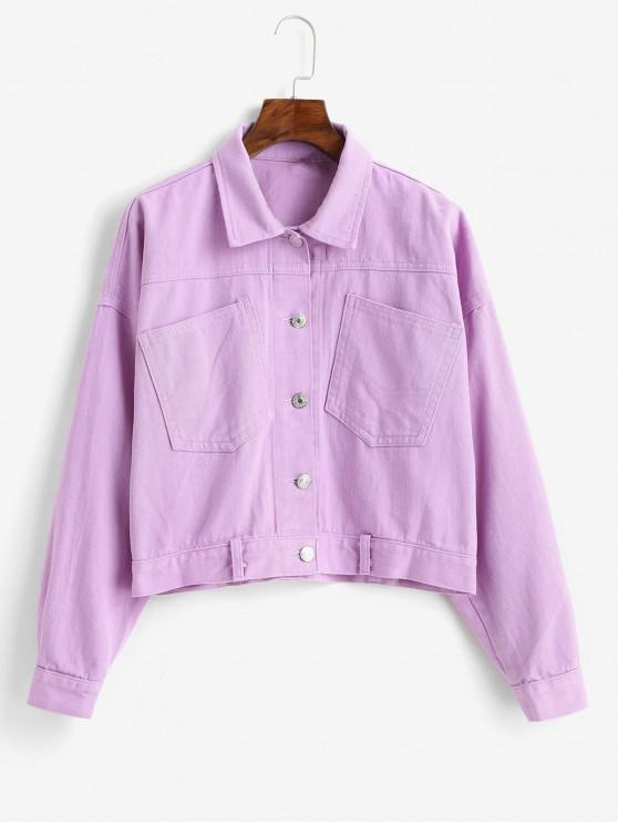 affordable Patched Pockets Button Up Cropped Jacket - MAUVE L