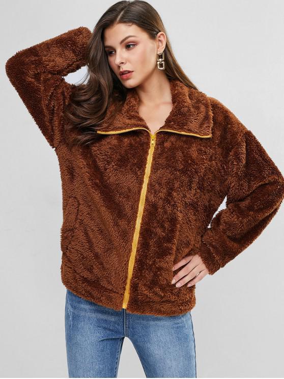 women Zip Up Drop Shoulder Fuzzy Coat - TIGER ORANGE M