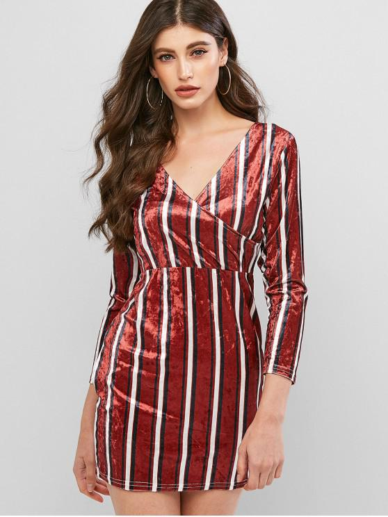 women Striped Velvet Bodycon Surplice Dress - CHESTNUT L