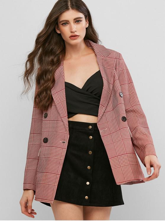 women's Double Breasted Houndstooth Mock Button Blazer - RED WINE S