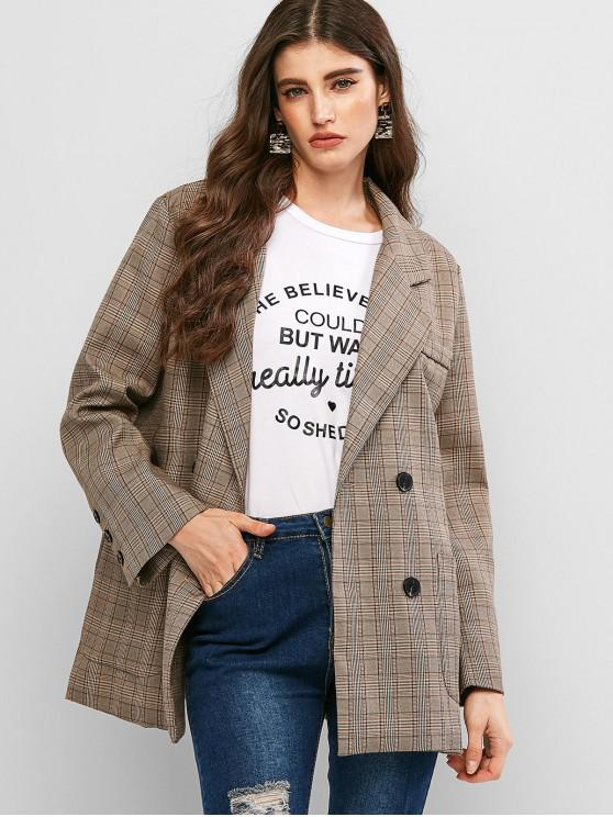 chic Double Breasted Pockets Plaid Blazer - LIGHT KHAKI S