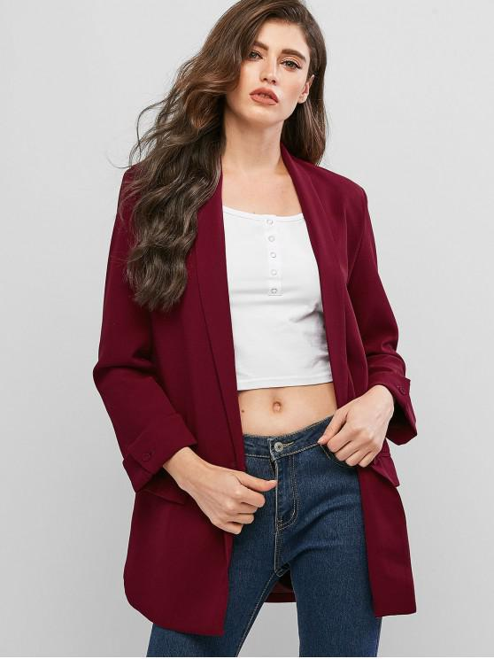 outfit One Button Shawl Collar Solid Blazer - RED WINE S