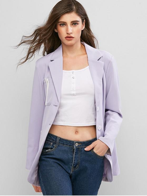 shop Striped Pockets Button Up Lapel Blazer - LAVENDER BLUE L