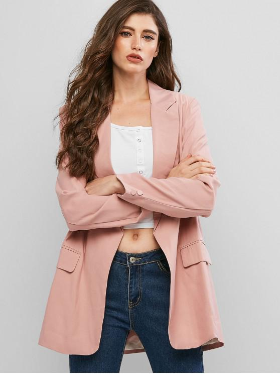 lady Shawl Collar Solid Open Blazer - KHAKI ROSE M