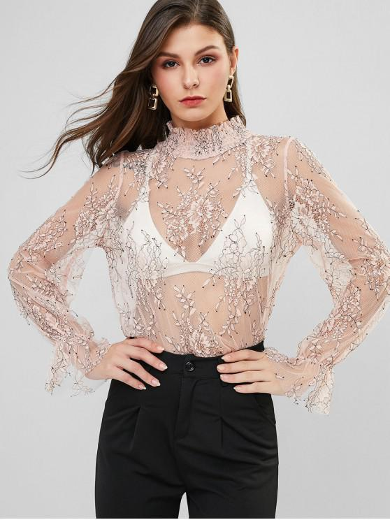 unique ZAFUL See Thru Openwork Poet Sleeve Lace Blouse - PINK S