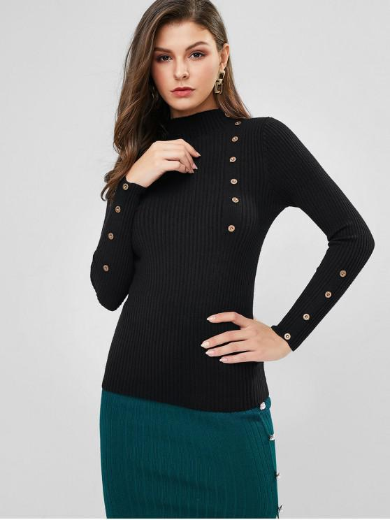 lady High Neck Ribbed Buttoned Slim Sweater - BLACK ONE SIZE
