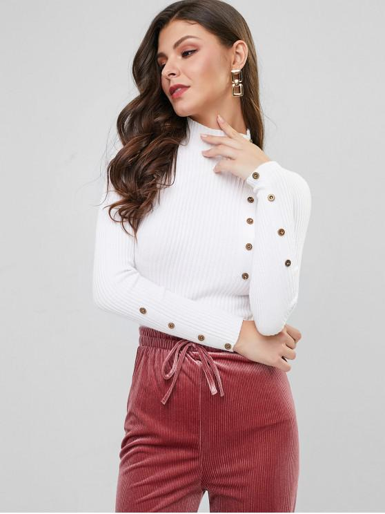 fancy High Neck Ribbed Buttoned Slim Sweater - WHITE ONE SIZE