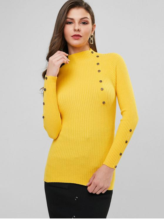 lady High Neck Ribbed Buttoned Slim Sweater - BRIGHT YELLOW ONE SIZE