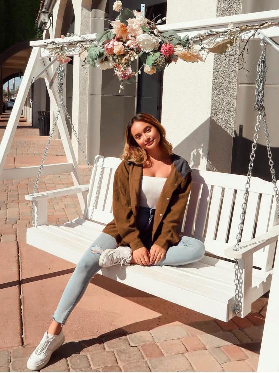 ZAFUL Контрастные цветы Пуговица С капюшоном Вельветовая Куртка - Каштановый  S