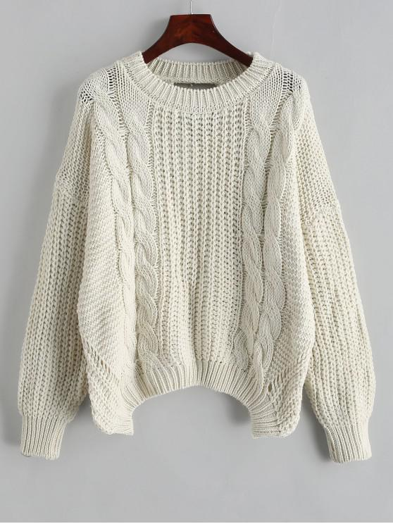 women Drop Shoulder Cable Knit Cut Out Back Sweater - WARM WHITE ONE SIZE