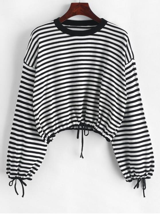 ladies Drawstring Crew Neck Contrast Stripes Sweater - BLACK ONE SIZE