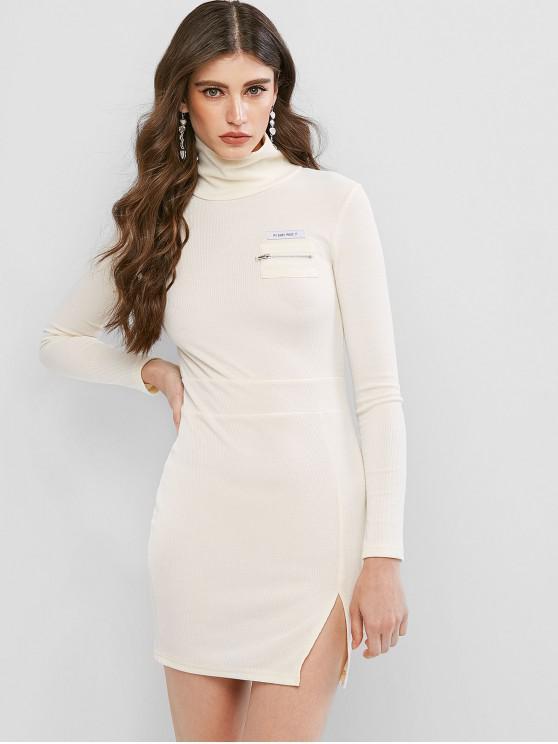 unique Letter Zip Embellished Slit Bodycon Dress - WARM WHITE L