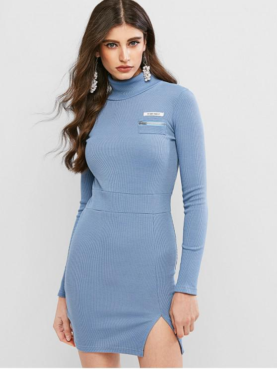 lady Letter Zip Embellished Slit Bodycon Dress - BLUE M