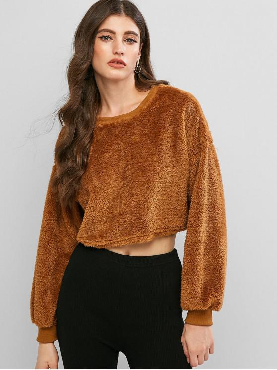 sale Drop Shoulder Fluffy Teddy Crop Sweatshirt - BROWN S
