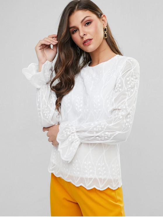 chic ZAFUL Poet Sleeve Scalloped Hem Embroidered Blouse - WHITE S