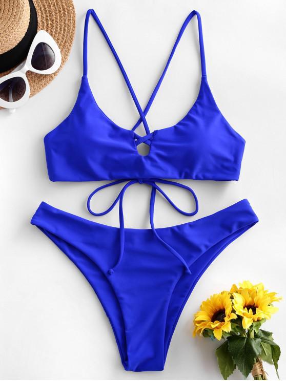 ZAFUL entrecruzado lazo Pierna Alta bikini - Azul Cobalto L