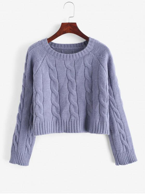 ladies Cable Knit Solid Cropped Sweater - BLUE ONE SIZE