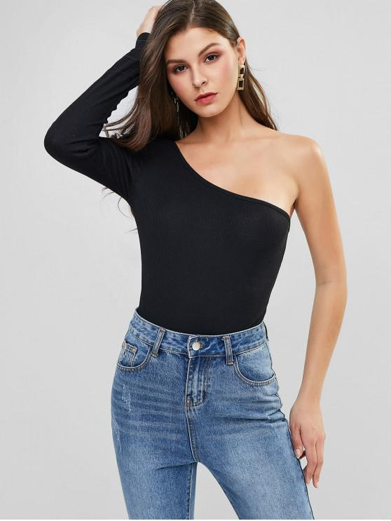 chic One Shoulder High Cut Ribbed Bodysuit - BLACK M