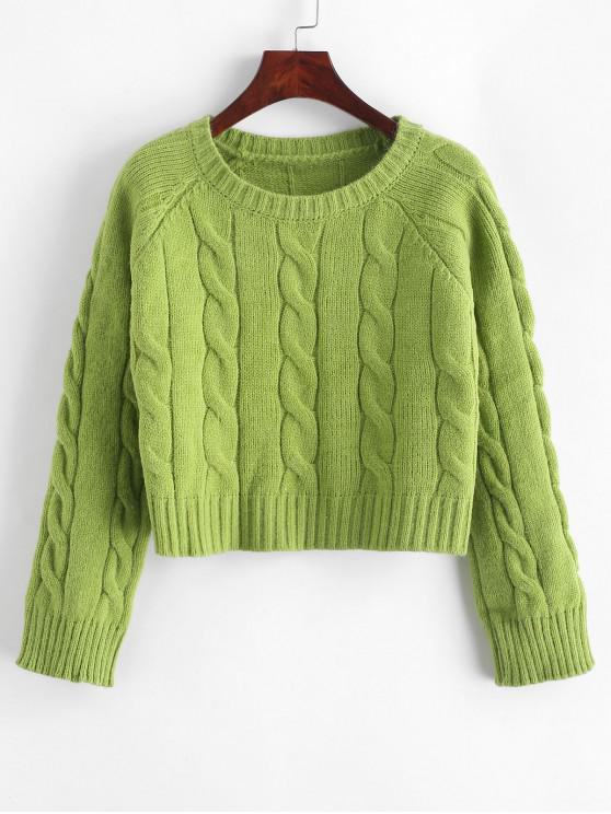 online Cable Knit Solid Cropped Sweater - GREEN ONE SIZE