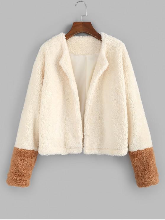 ZAFUL dos tonos chaqueta abierta mullido peluche - Albaricoque S