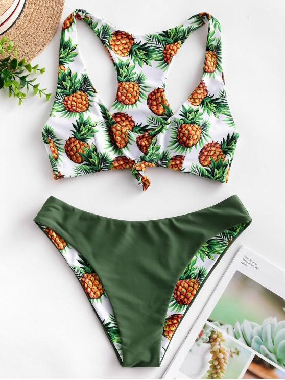 outfit ZAFUL Reversible Pineapple Knotted Racerback Bikini Swimsuit - MULTI-A S