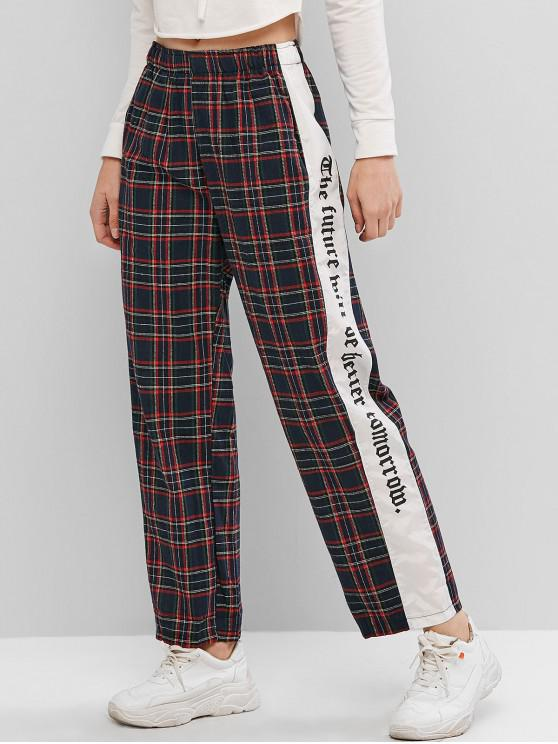 lady Plaid Letter Slogan Side Straight Pocket Pants - DEEP BLUE M