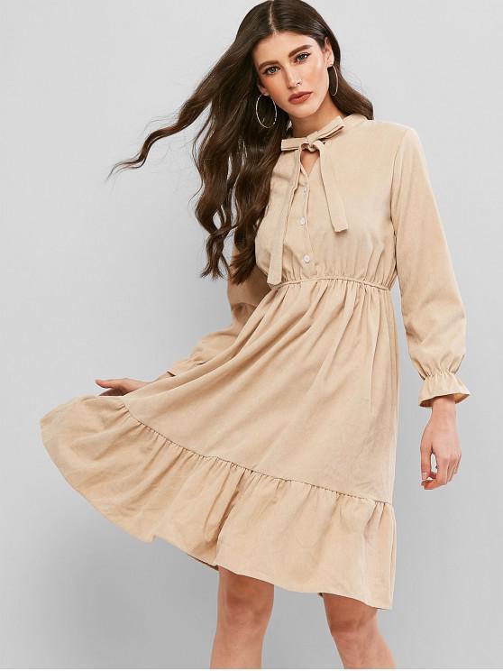 buy Pussy Bow Flounce Corduroy Dress - BEIGE XL