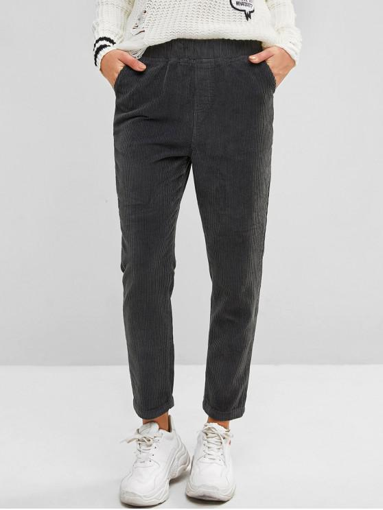 best High Waisted Pockets Corduroy Straight Pants - GRAYISH TURQUOISE XL