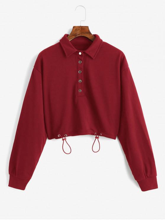 Sweatshirt Court en Couleur Unie à Bouton Pression - Rouge S