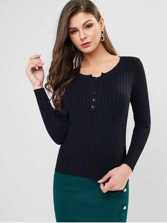 latest Half Placket Ribbed Slim Knit Sweater - BLACK ONE SIZE