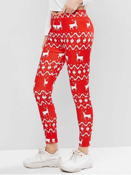 women's Reindeer Printed High Waist Leggings - RED S
