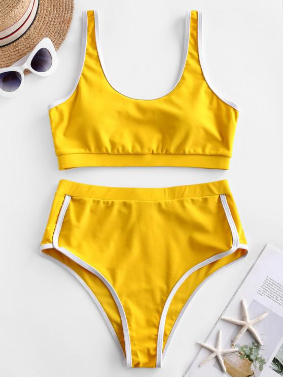 hot ZAFUL Contrast Piping High Waisted Padded Tankini Swimsuit - GOLDEN BROWN L