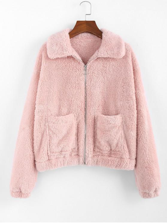 outfits ZAFUL Front Pocket Plush Jacket - ROSE M