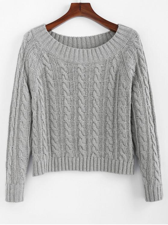 shops ZAFUL Cable Knit Off Shoulder Plain Sweater - GRAY CLOUD M