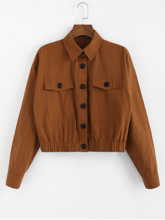 best ZAFUL Single Breasted Flap Pocket Ruched Hem Jacket - LIGHT BROWN S