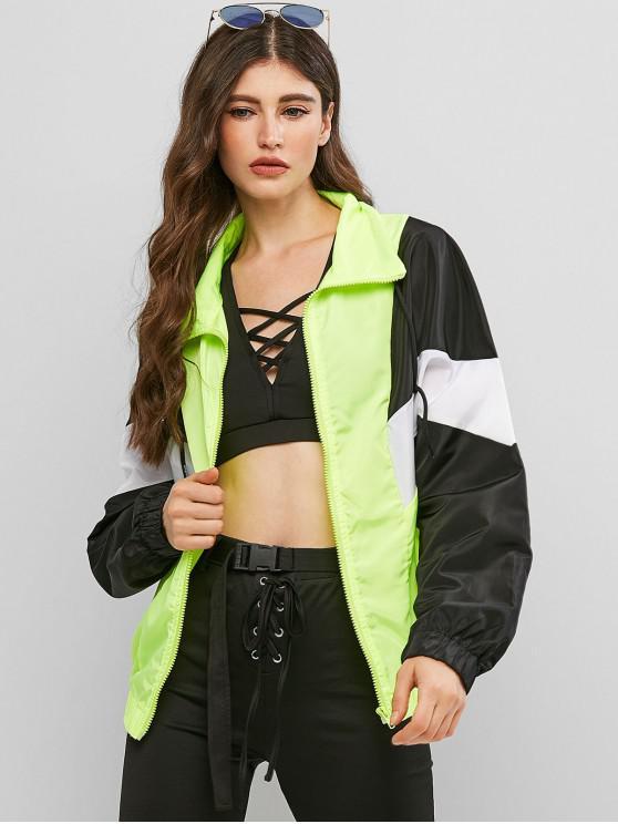 trendy Neon Color-blocking Zip Windbreaker Jacket - MULTI-A M
