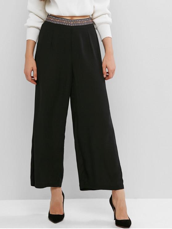 fashion Ethnic Waistband Chiffon Wide Leg Palazzo Pants - BLACK M