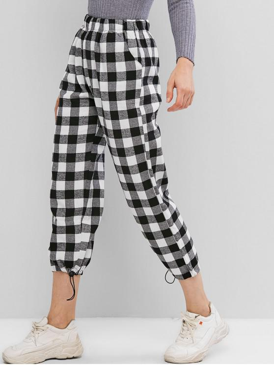 best Toggle Drawstring Ankle Plaid Pants - MULTI-B M