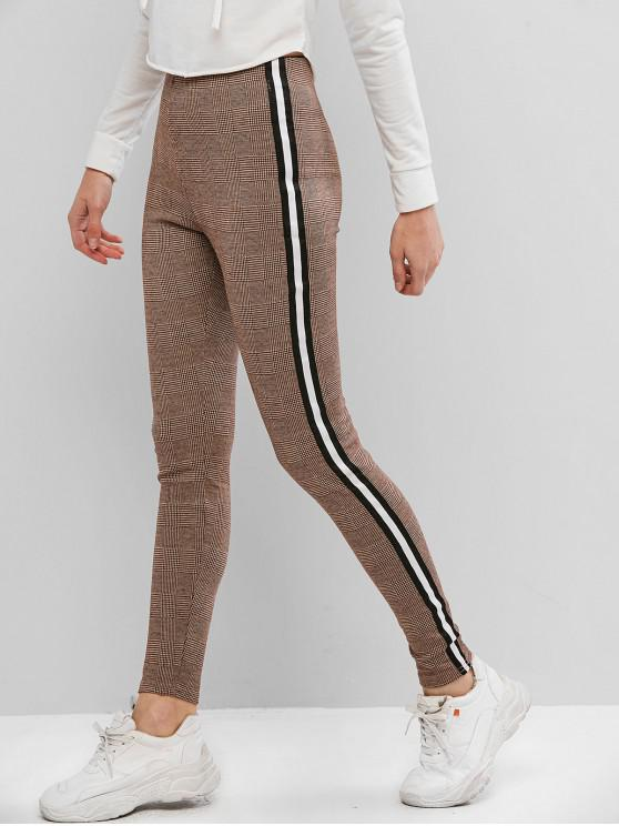 shop Plaid Striped Tape Skinny Pants - LIGHT BROWN M