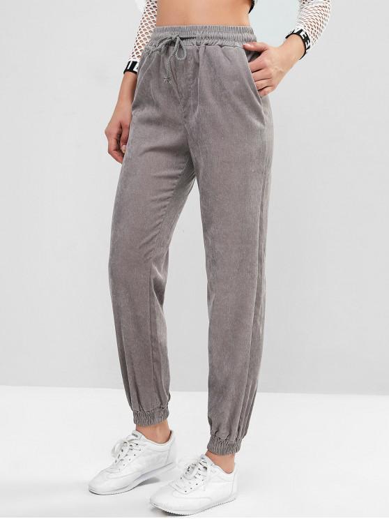 shops ZAFUL X Luna Montana High Waist Drawstring Corduroy Jogger Pants - GRAY CLOUD S