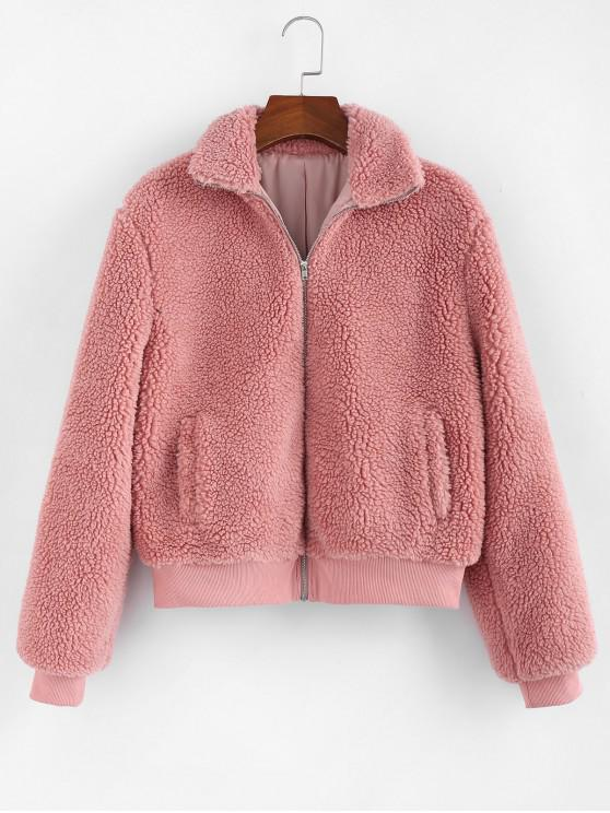 outfit ZAFUL Ribbed Hem Zip Pocket Fluffy Teddy Jacket - ROSE M