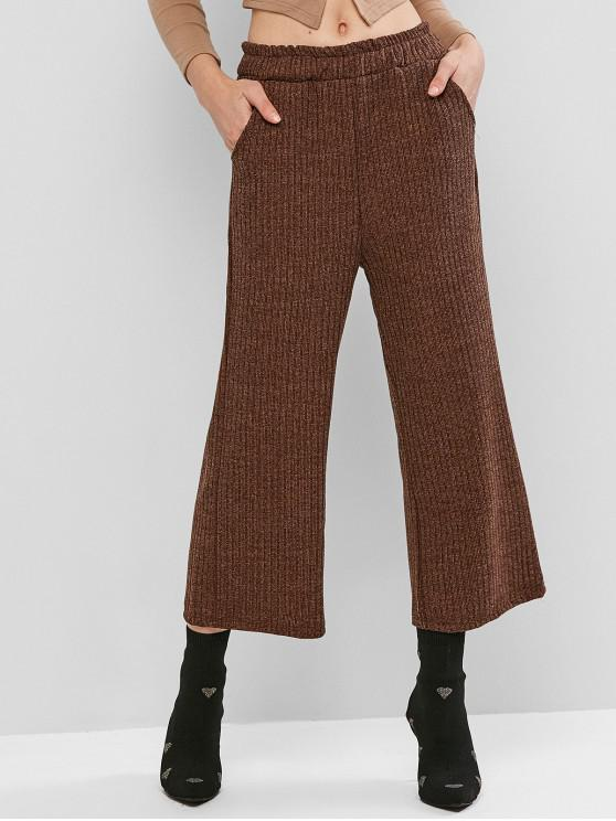 women's Knit Wide Leg Pants - COFFEE ONE SIZE