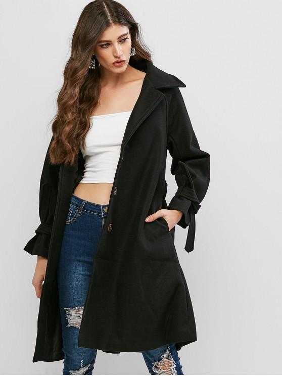 buy Raglan Sleeve Belted Longline Coat - BLACK ONE SIZE