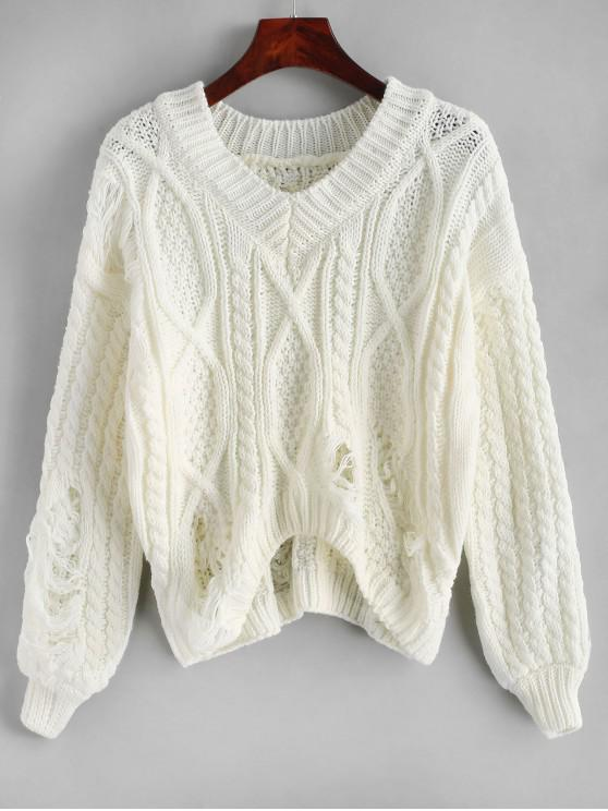 unique V Neck Cable Knit Chunky Distressed Sweater - WHITE ONE SIZE