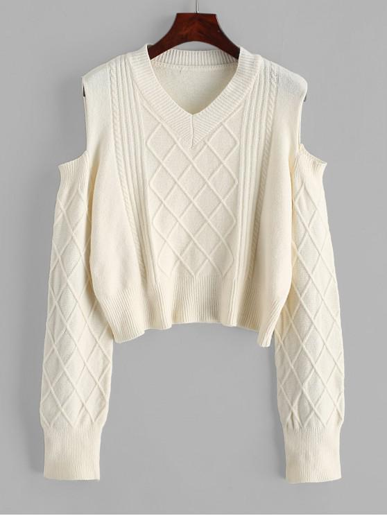 buy V Neck Cable Knit Cold Shoulder Sweater - WARM WHITE ONE SIZE