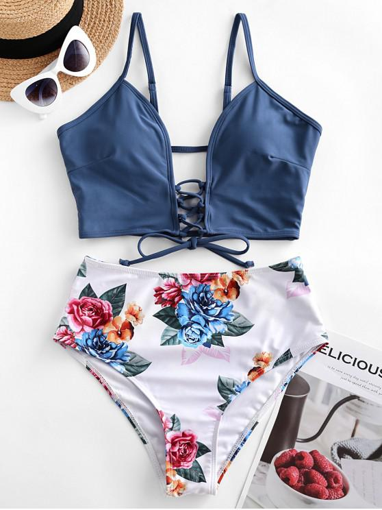 affordable ZAFUL Lace-up Floral Leaf Tankini Swimsuit - LAPIS BLUE M