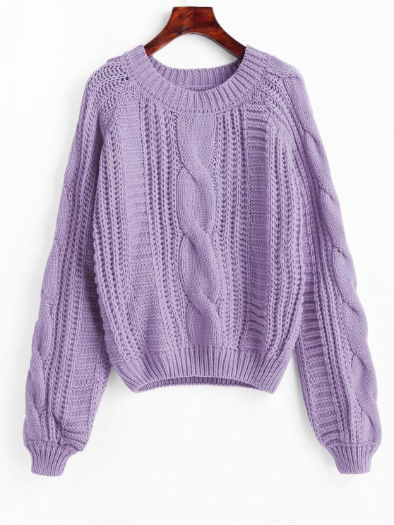 women's Solid Crew Neck Raglan Sleeve Cable Knit Sweater - PURPLE ONE SIZE