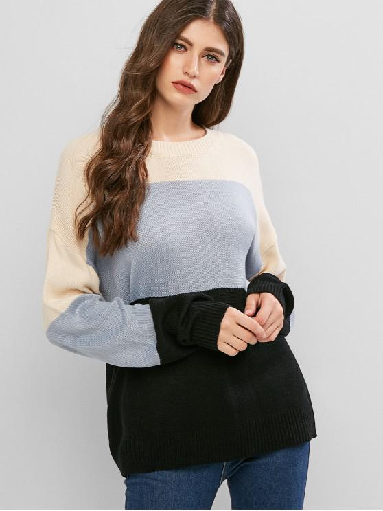 Colorblock寬鬆圓領毛衣 - 藍灰色 One Size