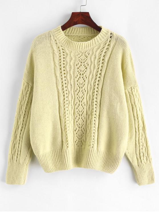 women Open Knit Solid Drop Shoulder Sweater - GREEN ONE SIZE