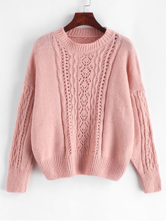 fancy Open Knit Solid Drop Shoulder Sweater - PINK ONE SIZE